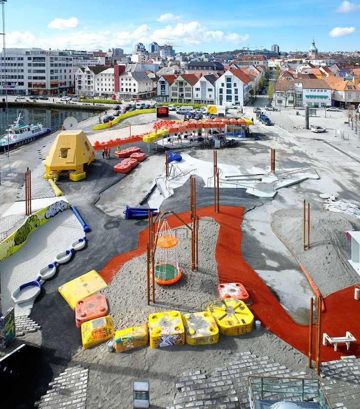Geopark, Stavanger, Norway. 2011 (Helen + Hard AS (Norway, est. 1996) (Siv Helene Stangeland and Reinhard Kropf))  At Geopark, a public play area in the city of Stavanger, Norway's oil capital, redundant material from the petroleum industry is transformed into objects of play. The park's form is based on the topography of a vast underwater natural gas and oil field, called Troll, with bright ...