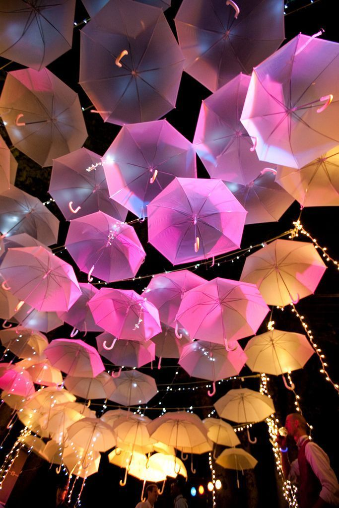 Umbrella canopy. Easy DIY wedding idea. Use white umbrellas and let the lighting do the work!