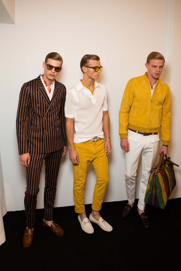 Gucci Men's SS 2013 Runway Show.  www.gucci.com   To the Right: Colorful Mens Carryall / Mens Overnight Handbag