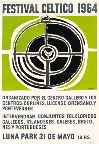 Afiche ilusrado por Luis Seoane para el Festival de Música Celta realizado en el Estadio Luna Park en 1964.