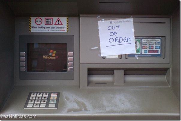 """95% de los cajeros automáticos del mundo se verán afectados con la """"salida"""" de Windows XP - http://www.leanoticias.com/2014/01/22/95-de-los-cajeros-automaticos-del-mundo-se-veran-afectados-con-la-salida-de-windows-xp/"""
