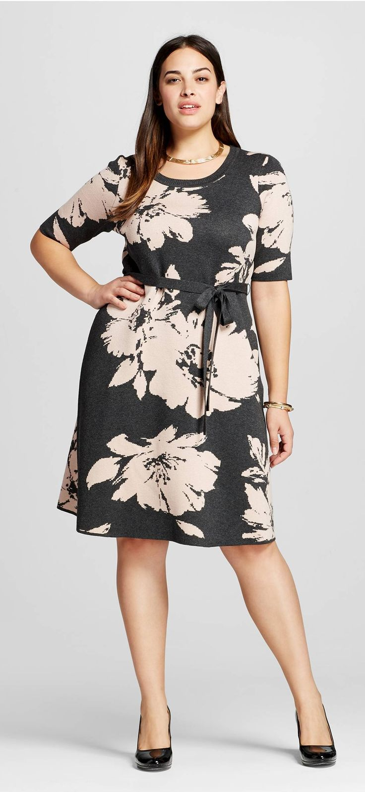 Plus Size Elbow Sleeve Floral Sweater Dress