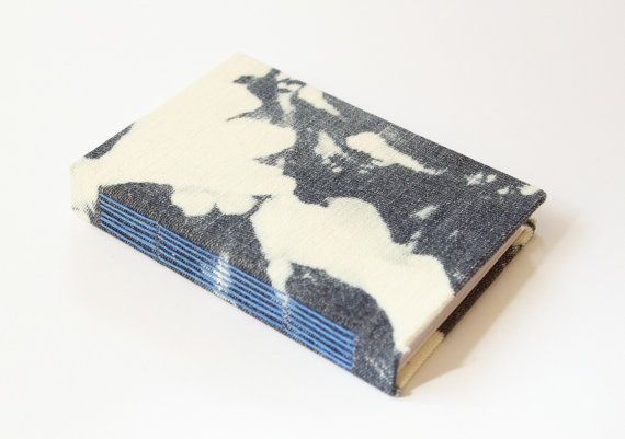 Bleached Denim Fabric Journal (splodge) - Blank Pages - Travel Journal