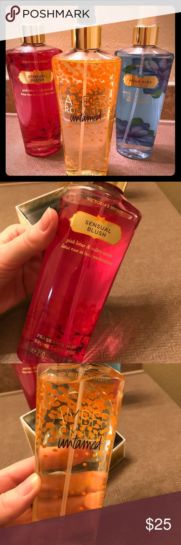 Lot of 3 Victoria Secret Body Sprays, All New. Set of 3 Victoria Secret Body Sprays.  - Sensual Blush - Aqua Kiss - Amber Romance Untamed  All are new. Asking $25 for the set or make an offer. Victoria's Secret Makeup