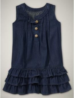 Denim dress for both girls.