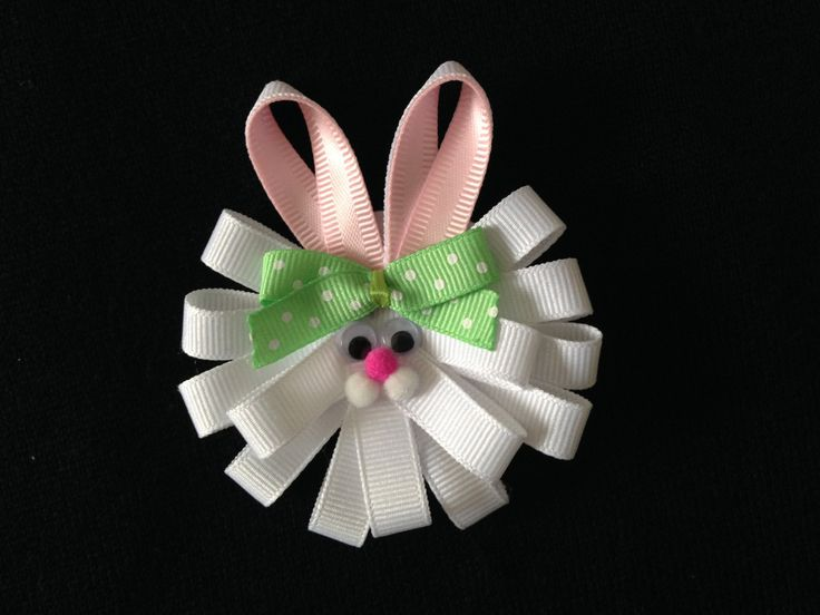 White Bunny Hair Clip With Green Bow - Sculpture Bunny Hair Clip - Bunny Face Hair Clip w/Pink Ears - Easter Hair Clip - Easter Theme Clip by ArgenCrafts on Etsy