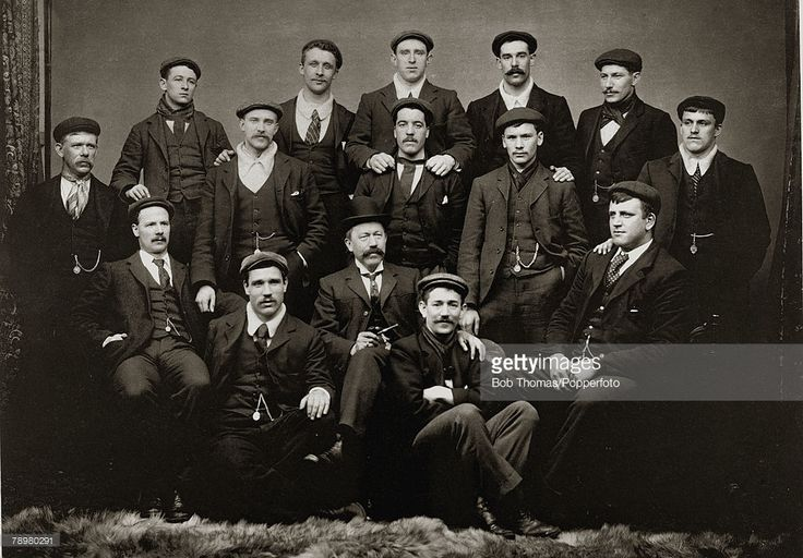 1899, Sheffield United FC, the 1899 English FA,Cup winners, showing the players wearing their medals attached to their watch chains, The successful team that beat Derby County 4-1 at the Crystal Palace was, Billy Foulke, (pictured seated, far right), Thickett, Boyle, Johnson, Morren, Needham, Bennett, Beers, Hedley, Almond, Priest