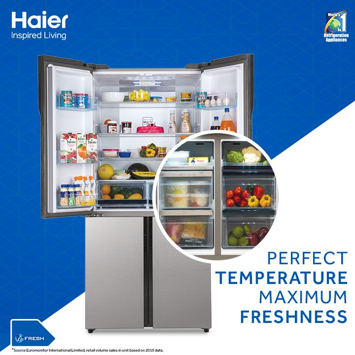 With Convertible My Zone feature of Haier Four Door Refrigerator, set the specific section of the refrigerator from -3 to +5 degrees Celsius to suit the food type.  #Refrigerator #Appliance #Innovation #InspiredLiving #HaierIndia