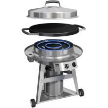 Patented Temperature Control System for Edge-To-Edge Variable Heat - Evo Professional Classic Wheeled Cart Flattop Grill - Natural Gas : BBQ Guys