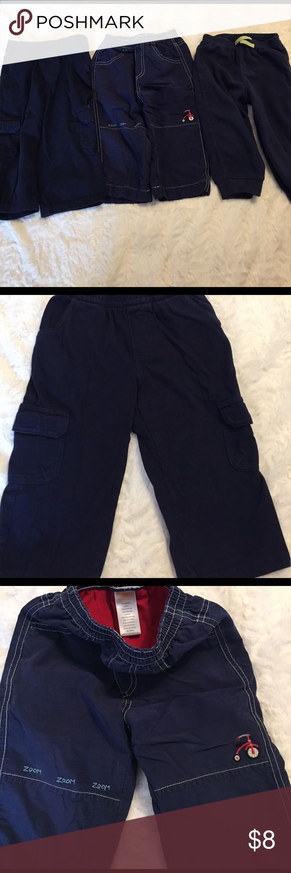 Bundle of two boys 18 Month elastic waist pants Toughskins navy elastic waist pants with front pockets and side Velcro cargo pockets; EUC, size 18 Months. Gymboree cotton lined tricycle zoom, zoom, zoom elastic waist pants with front and back pockets; good used condition, Size 18-24 months. Smoke free/cat free/clean home. Gymboree Bottoms Casual
