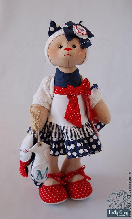 Купить Кошечка Marla - тёмно-синий, красно-синий, морской, морской стиль, Игрушка кошка