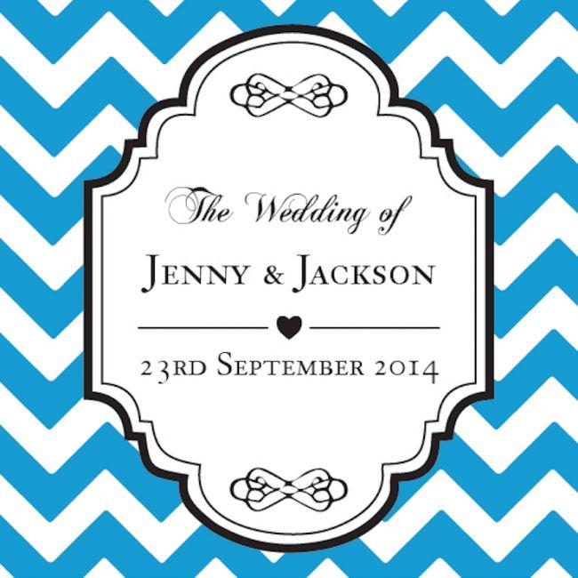 Chevron Personalized Favour Tag - Bright Blue!!  #PersonalizedFavourTag #Weddingtags