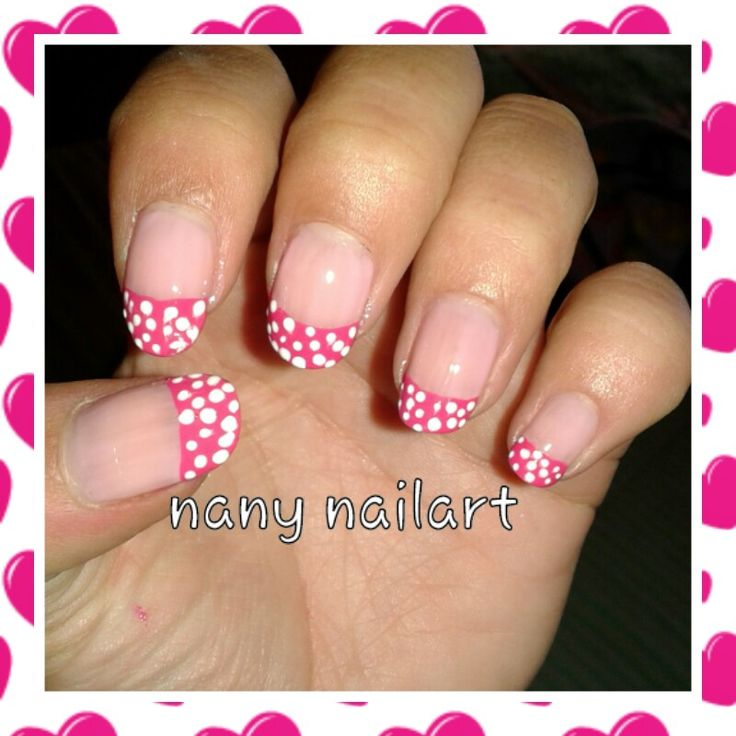 French pink with points white nail art