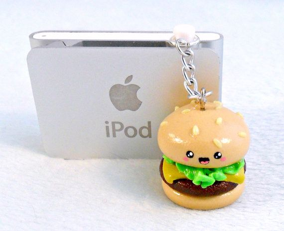 Kawaii Hamburger Charm Dust Plug, Phone Plug, For iPod or iPhone :D