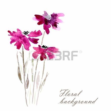Lila virágok Akvarell virágos illusztráció virágos illat Vektor virág háttér Meghívó Születésnapi kártya Stock fotó