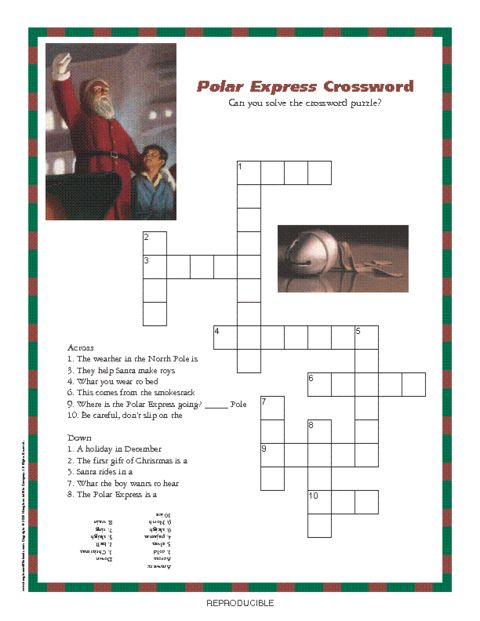 Polar Express Crossword Puzzle