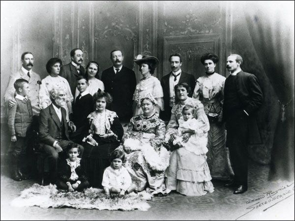 Arthur Conan Doyle's first marriage: his wife Louisa (seated in front of him), and children Mary and Kingsley behind her. Mother Mary Foley Doyle is seated next to her. Brother and sisters and their husbands and children. The old man is a cousin from his mother's side of the family. Connie's husband, second from the left in back, is E. W. Hornung (Raffles author).