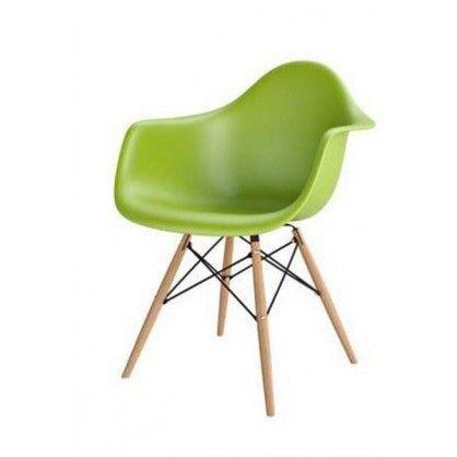 Krzesło P018W PP zielony, drewniane nogi HF