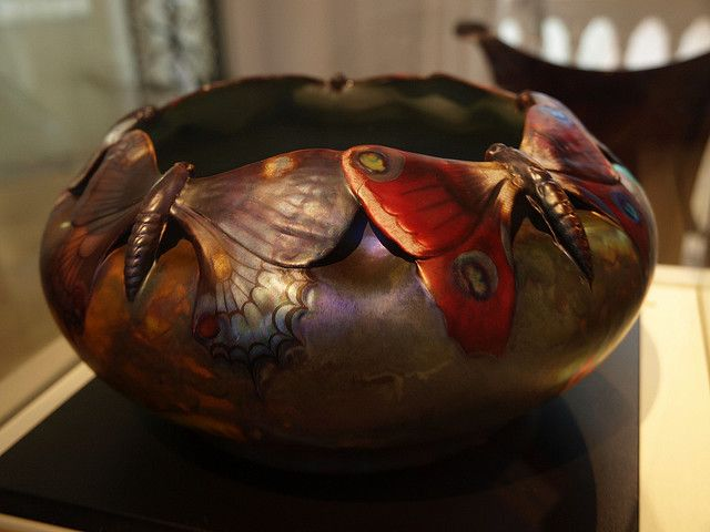 Art Nouveau Vase/Bowl with Butterflies.  Museum of Applied Arts, Budapest, Hungary.  Photo by Mararie via flickr.com
