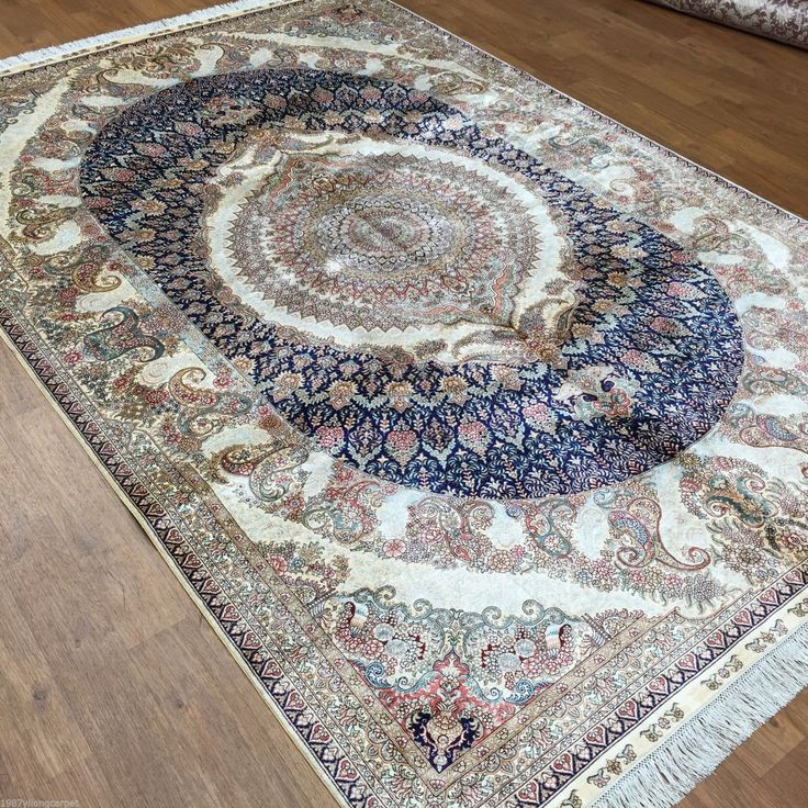 Navy Blue 6 x 9 Highest Quality Silk Rugs for Sale 100% Hand Knotted Rug PAISLEY