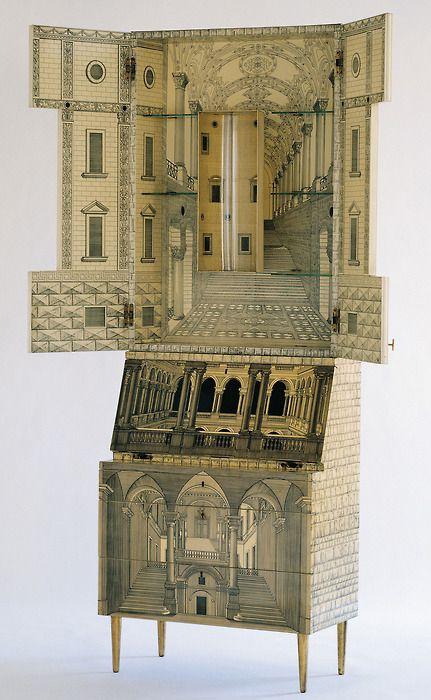 """Piero Fornasetti (Milano 1913-1988) and Gio Ponti (Milano 1891-1979) Bureau """"Architecture"""" 1951"""