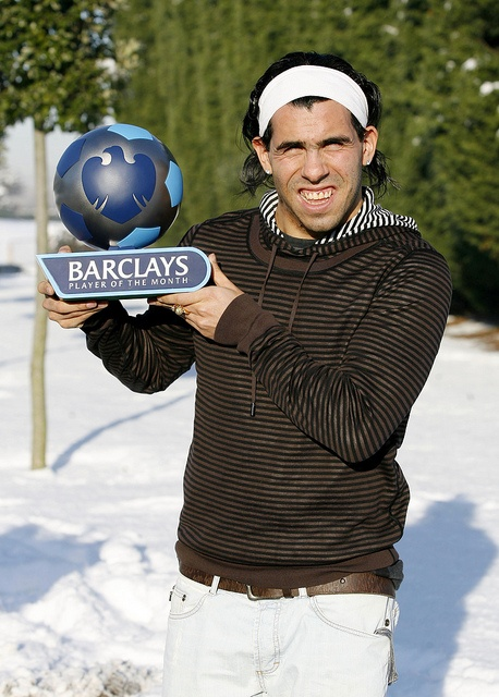 Manchester City's Carlos Tevez with the Barclays Player of the Month Award for December 2009.