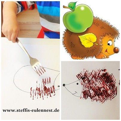 Basteln mit Kindern,Basteln für Kinder, Kita , Krippe, Kindergarten, Igel, Herbst, Gabel, Gabeltechnik, Farbe, malen,