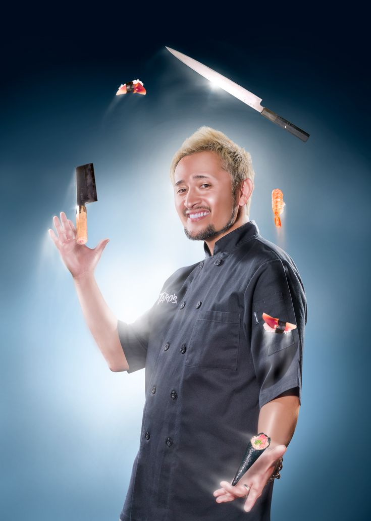 Series for Mikuni Sushi restaurants. Each image features one of 9 head chefs. #hands #fish #knife #roll #sushi #seaweed #shrimp #chef #juggle #elevendy #11dy #sashimi #cleaver #blue