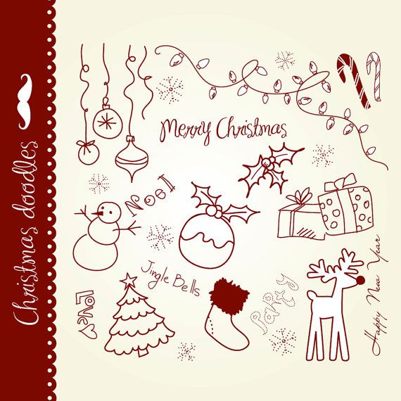 Christmas doodles clip art, hand drawn elements, digital collage, vintage, Seasons Greetings clipart, Personal and Commercial Use.