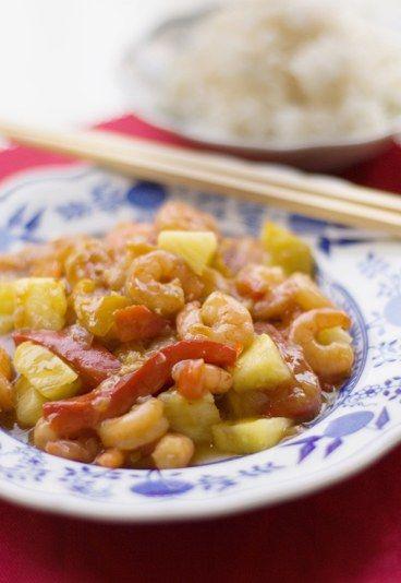 Gamberetti in agrodolce con peperoni e ananas - Ricetta cinese