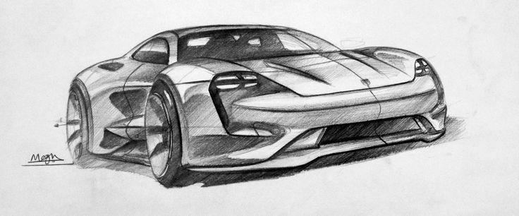 Porsche Mission E concept sketch