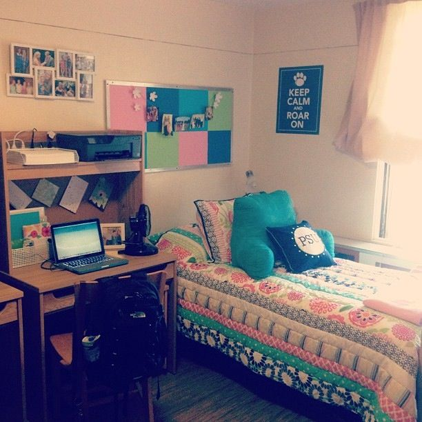 Colorful Dorm Room: Dorm Room. Love The Set Up More Than The Actual Color