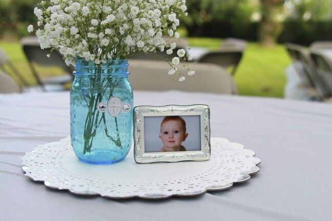 Baby boy baptism centerpiece babies breath blue mason jar frame