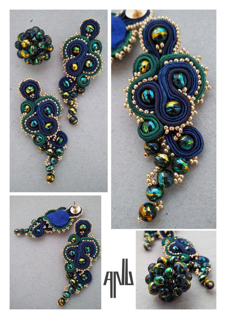 Handmade ANU Jewelry Soutache Earrings Pendant Blue Green Golden