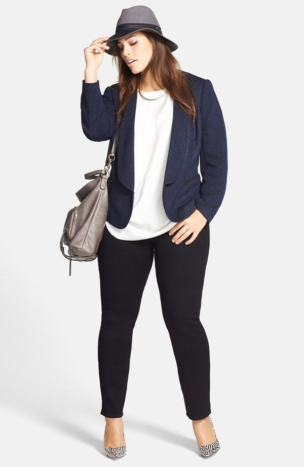 Love everything about this look Side Pleat Cap Sleeve Blouse and deep Blue Blazer!!