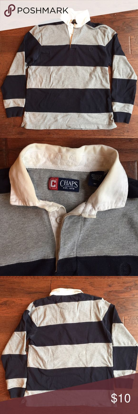 Chaps Rugby Chaps - Blue & Gray Striped Rugby - some staining on collar (pictured) - Size Medium - Smoke Free Home Chaps Shirts Polos