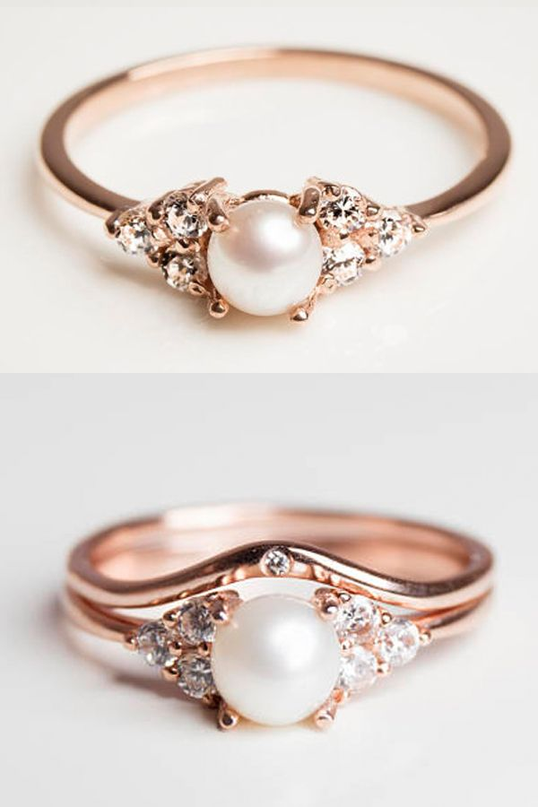 Pearl and Diamond Rose Gold Engagement Ring - Diamond Alternative Engagement Ring Stone - Jewelry - Stacking Rings - With Optional Stacking Wedding Band, Anniversary Band #engagementrings #weddings #pushpresents #jewelry #rings #weddingdresses