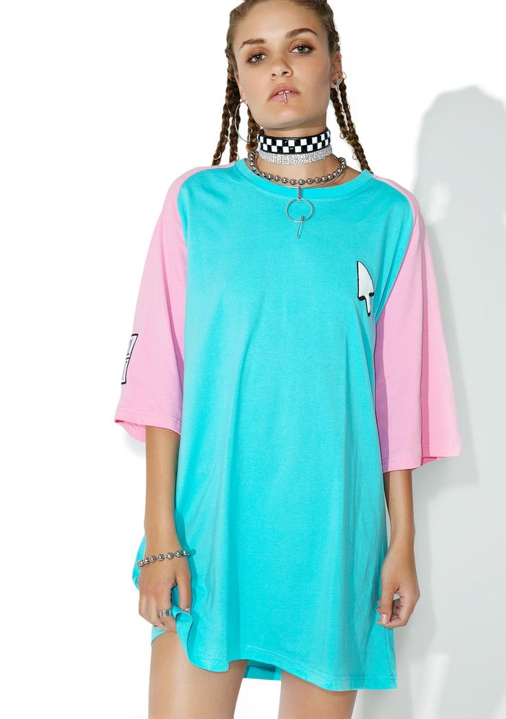 Cool Shit Pointer Tee cuz everyone knows yer internet famous, bb. Get online in this tee that features an aqua blue construction, pink sleeves, oversized fit, and a lil white mouse pointer patch on yer chest.
