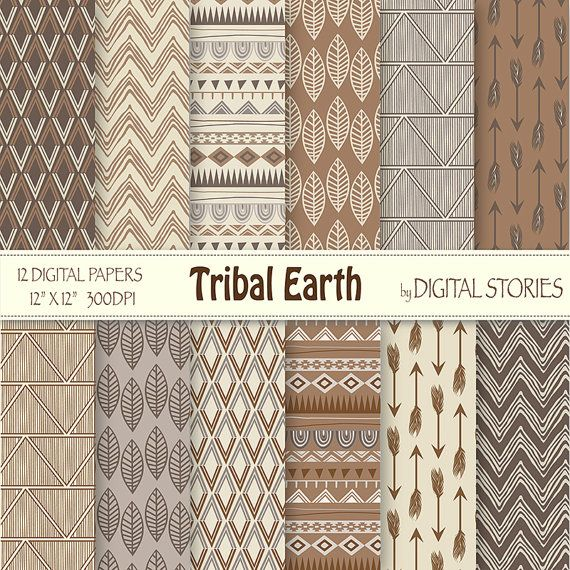 "Tribal Digital Paper: ""TRIBAL EARTH"" with tribal patterns, in brown, beige, gray earthtones, for scrapbooking, invites - Buy 2 Get 1 Free on Etsy, $3.67"