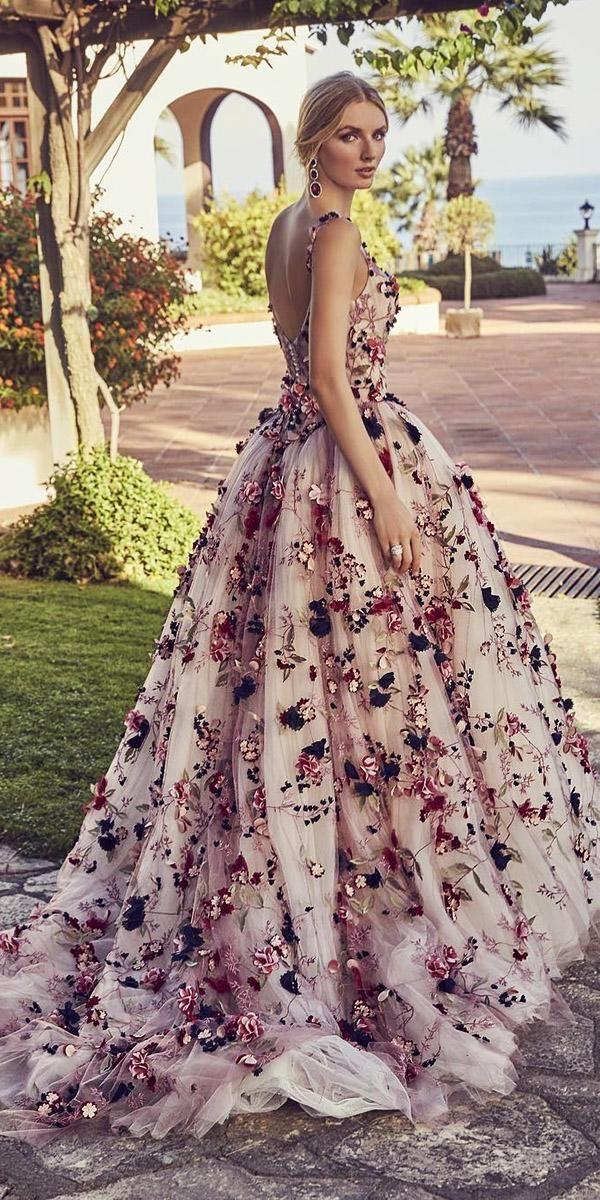 Blumenhochzeitskleider Ballkleid mit Trägern niedrigen Rücken 3d floral ronaldjoycebrida …   – Svadobné šaty