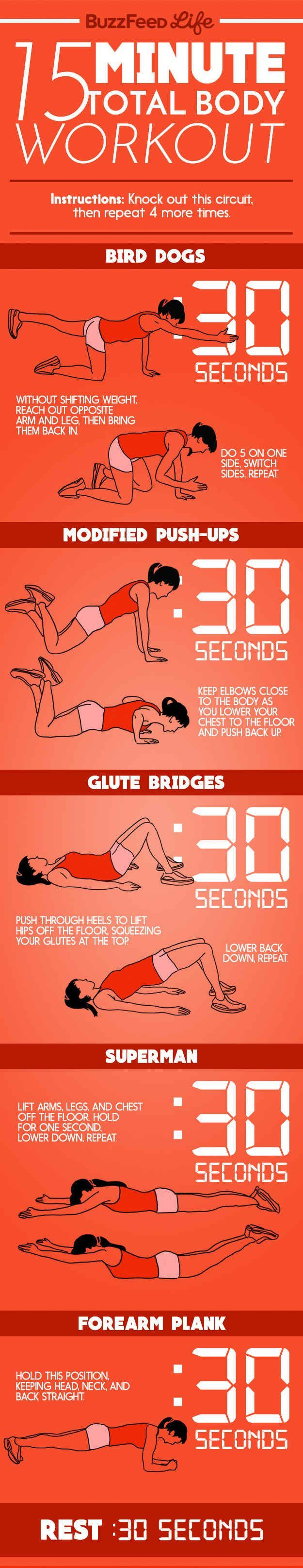 15-Minute Total Body Workout. Here's A Day-After-Thanksgiving Workout For When You Can Barely Move get fit for free, getting in shape