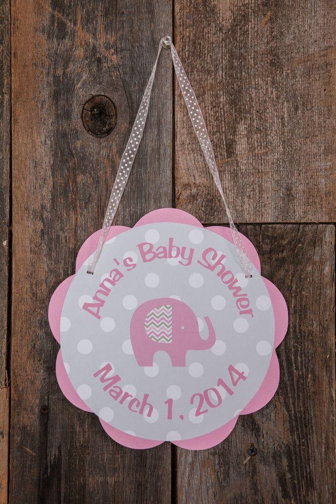 Elephant Door Sign Baby Shower - Pink & Grey