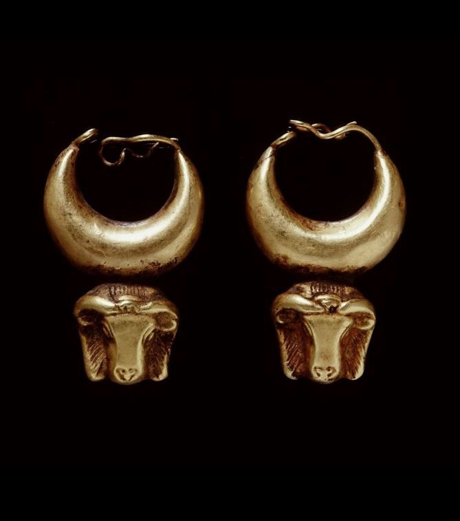 *EGYPT ~ Gold earrings; crescent moon and ram's head.