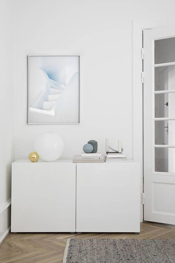 white stairs minimal wall art