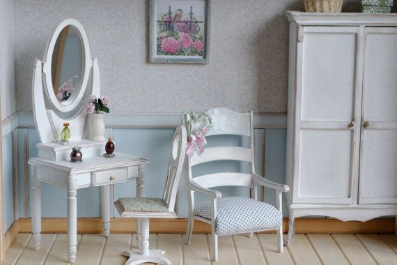 Handmade Dressing Table with Chair Miniature 1:6 by DollboxStore