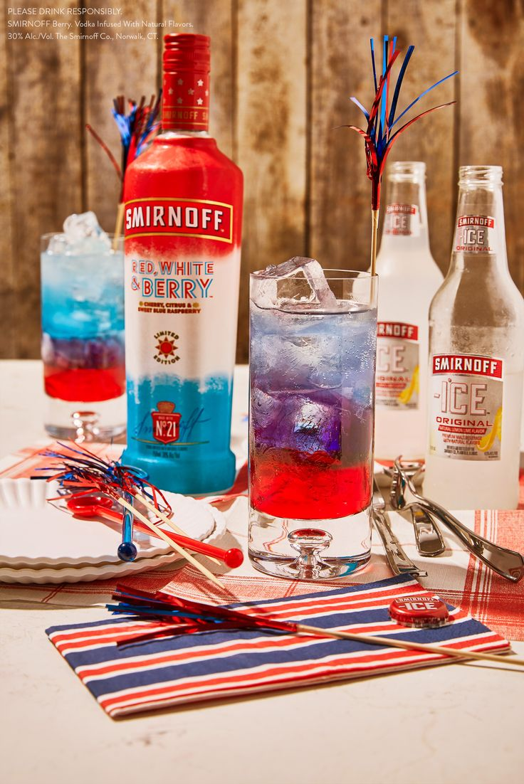 American flavor now comes in 750 mL bottles. Celebrate Memorial Day with this delicious and easy American Masterpiece.    RECIPE: 1 oz Smirnoff Red White & Berry, ½ bottle of Smirnoff ICE Original premium malt beverage, .5 oz blue curacao, and .5 oz grenadine.