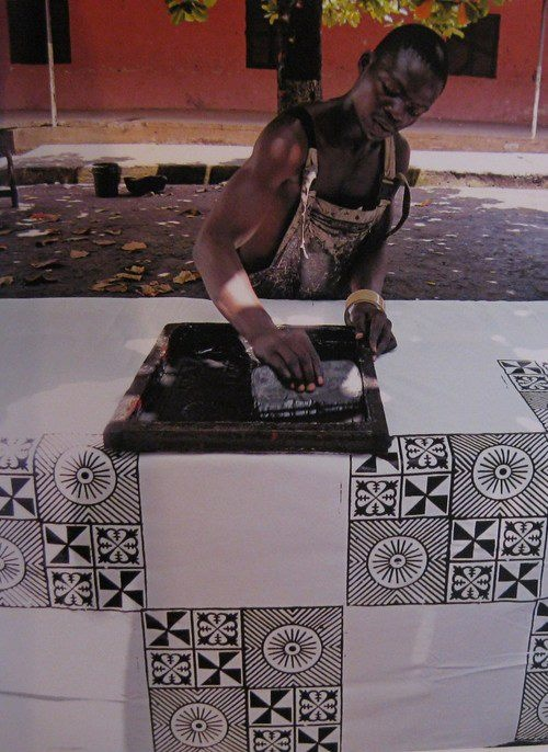 Africa | Screen printing using Adinkra symbols. | Photographer unknown