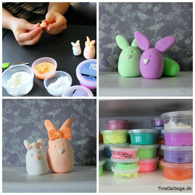 Påskeharer lavet af ler - SIlk Clay og Foam Clay fra Tina Dalbøges #Kreahobshop.dk #børneide til #påskepynt