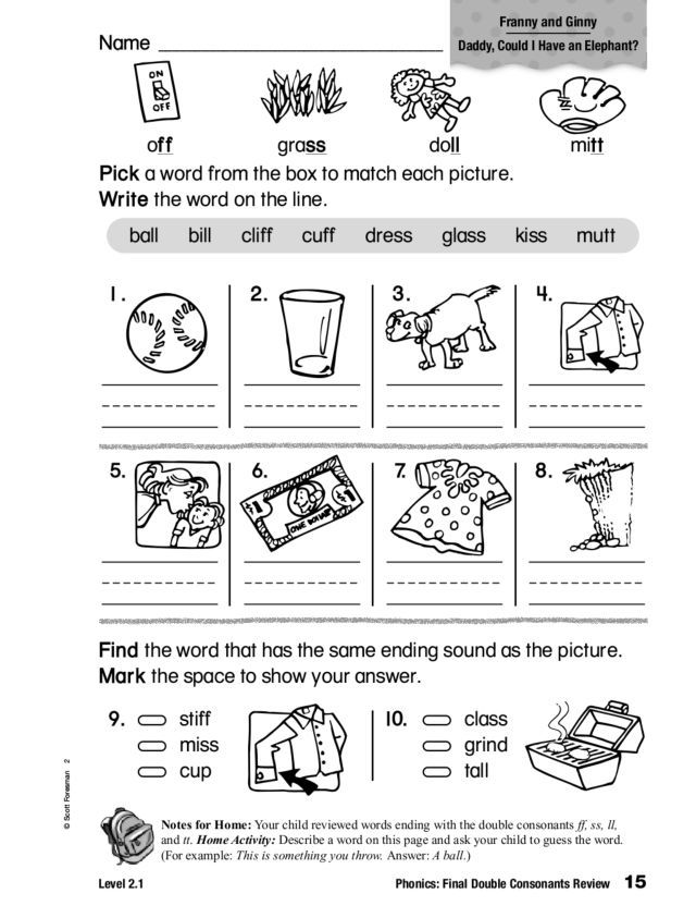 Phonics Final Double Consonants Review Worksheet For 1st