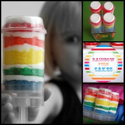 For ART party- Rainbow Cake Pushpops - fun!: Cakes Pop, Push Pop Cakes, Art Parties, Birthday Parties, Push Cakes, Rainbows Cakes, Push Up, Cakes Push Pop, Rainbows Push